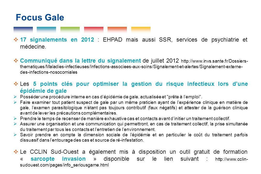 Focus Gale 17 signalements en 2012 : EHPAD mais aussi SSR, services de psychiatrie et médecine.