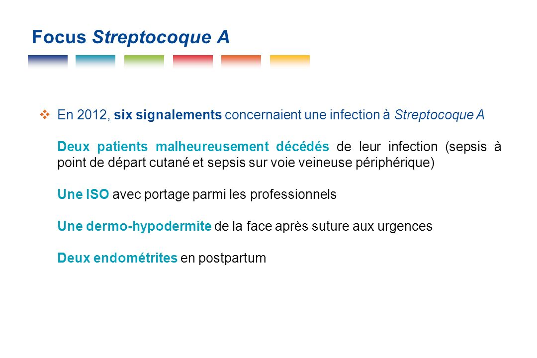Focus Streptocoque A En 2012, six signalements concernaient une infection à Streptocoque A.