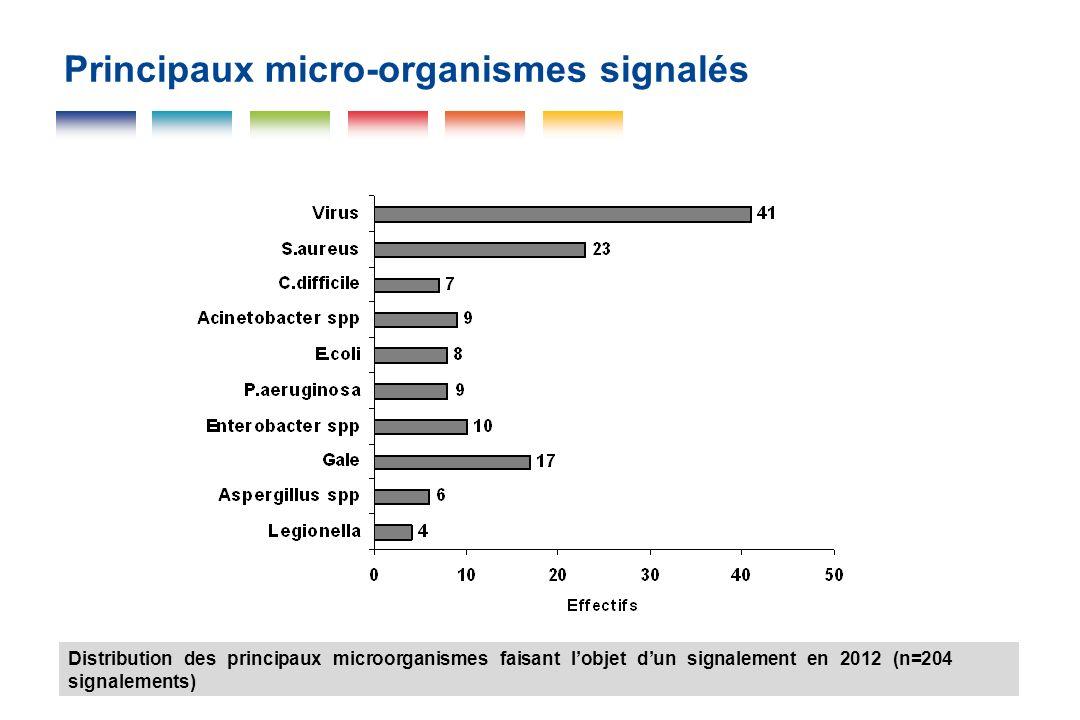 Principaux micro-organismes signalés