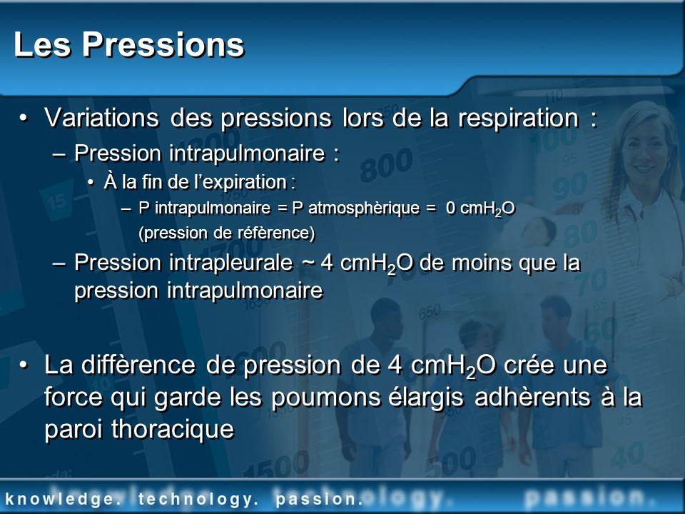 Les Pressions Variations des pressions lors de la respiration :