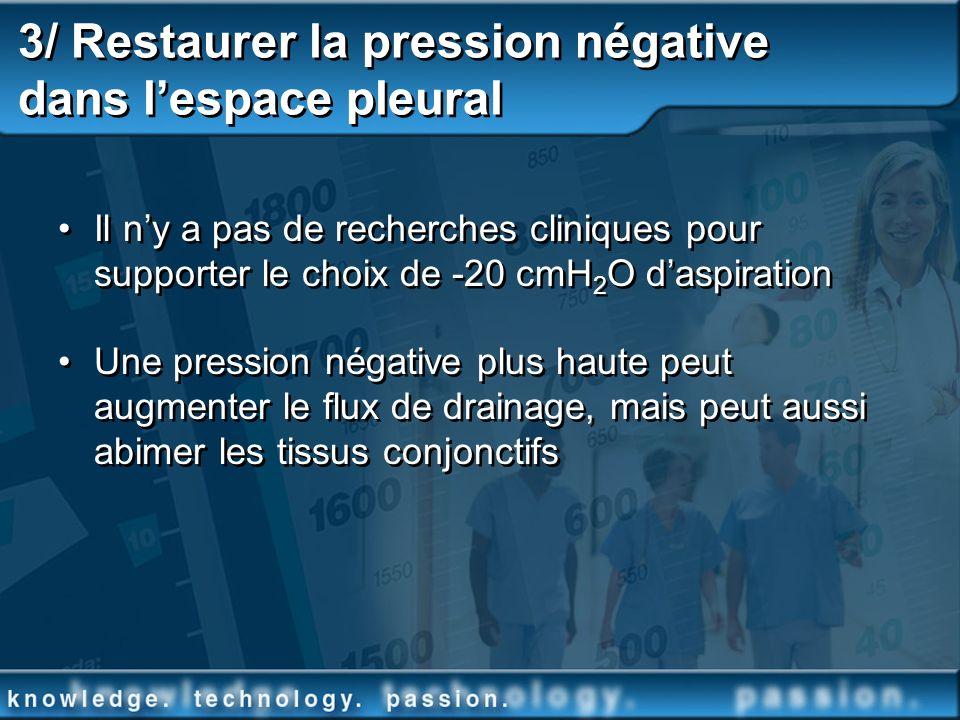 3/ Restaurer la pression négative dans l'espace pleural