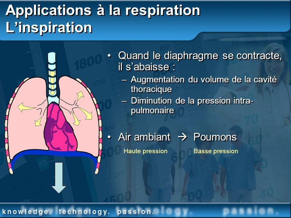 Applications à la respiration L'inspiration