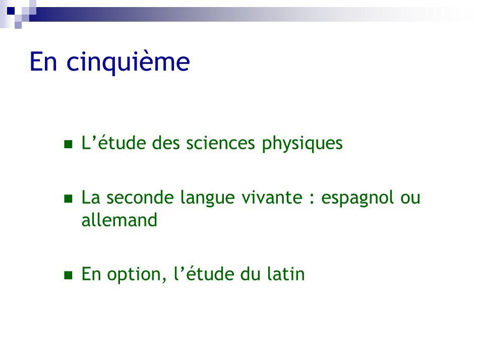 En cinquième L'étude des sciences physiques