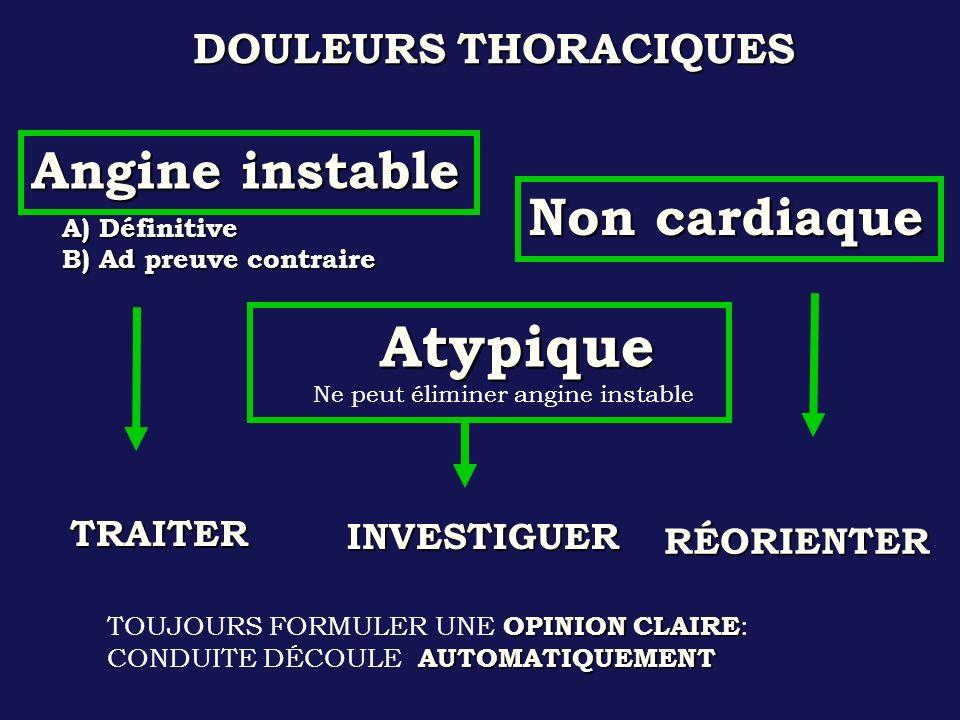 Atypique Angine instable Non cardiaque DOULEURS THORACIQUES TRAITER
