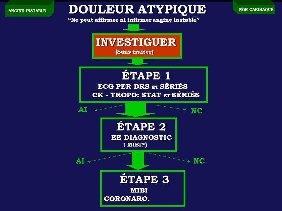 DOULEUR ATYPIQUE INVESTIGUER AI NC AI NC EE DIAGNOSTIC MIBI CORONARO.