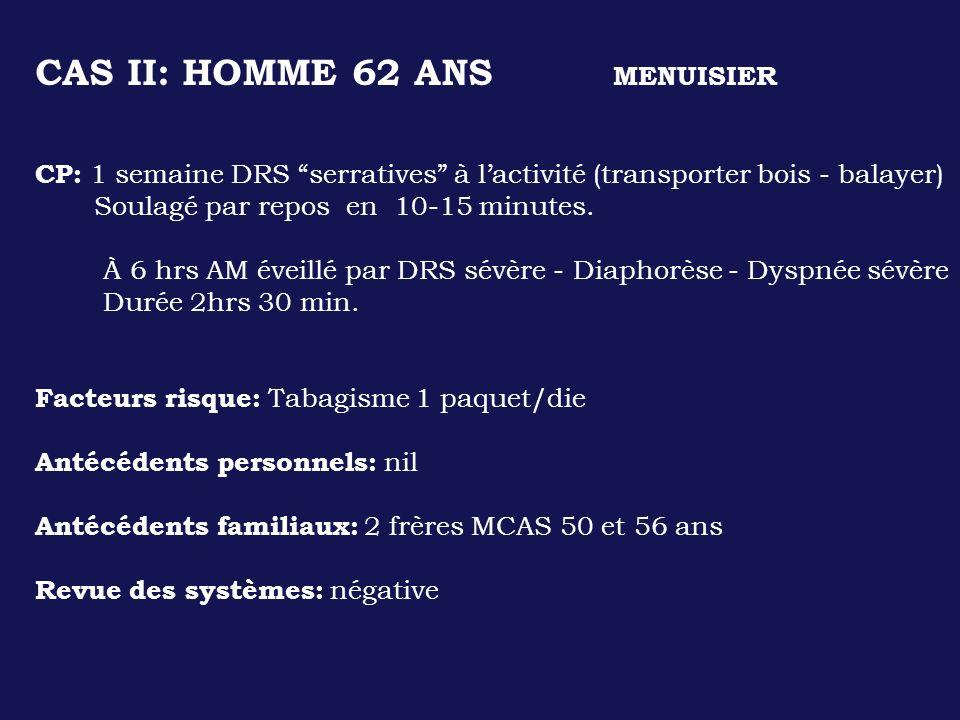CAS II: HOMME 62 ANS MENUISIER