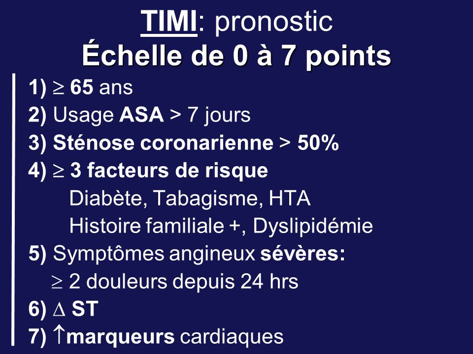 TIMI: pronostic Échelle de 0 à 7 points