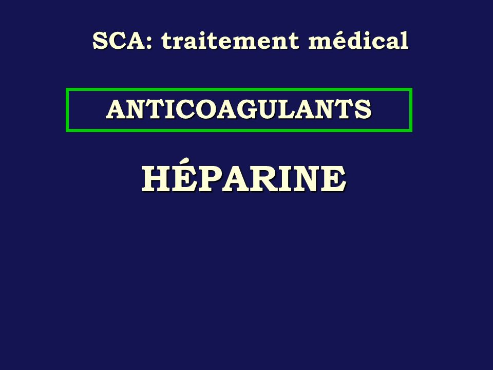 SCA: traitement médical