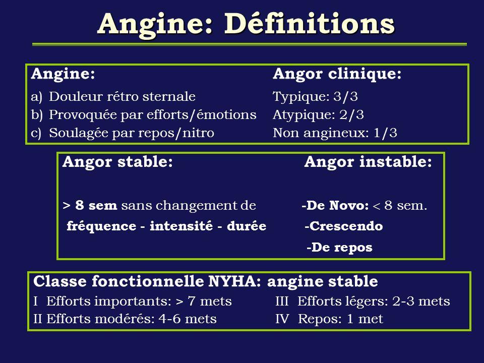 Angine: Définitions Angine: Angor clinique: