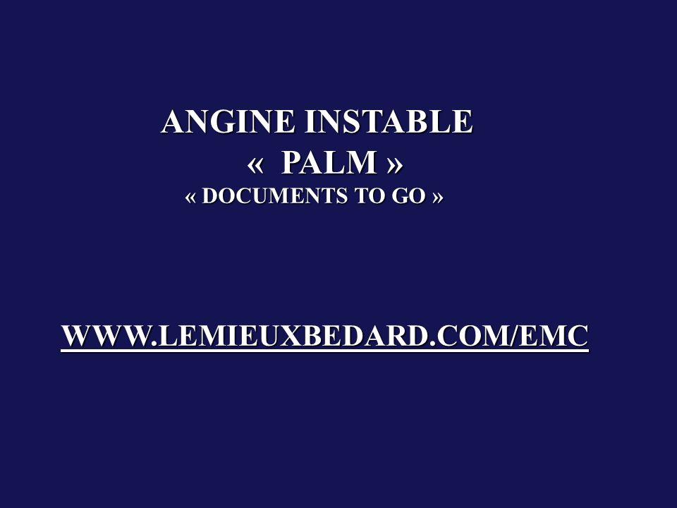 ANGINE INSTABLE « PALM » « DOCUMENTS TO GO » WWW.LEMIEUXBEDARD.COM/EMC