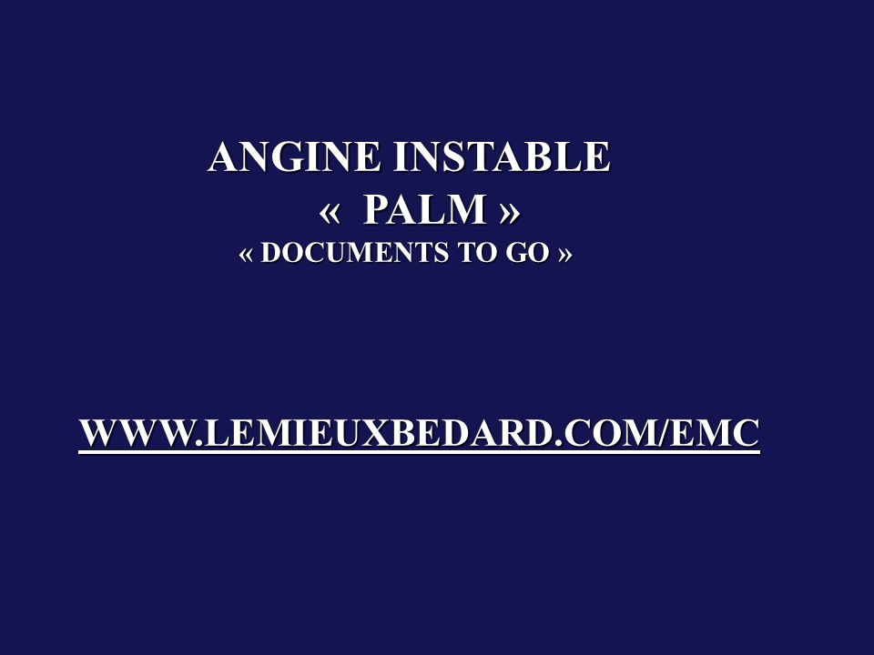 ANGINE INSTABLE « PALM » « DOCUMENTS TO GO »
