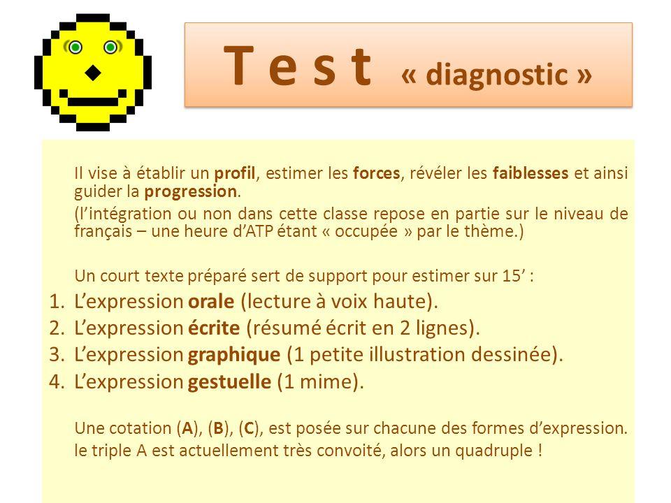 T e s t « diagnostic » L'expression orale (lecture à voix haute).