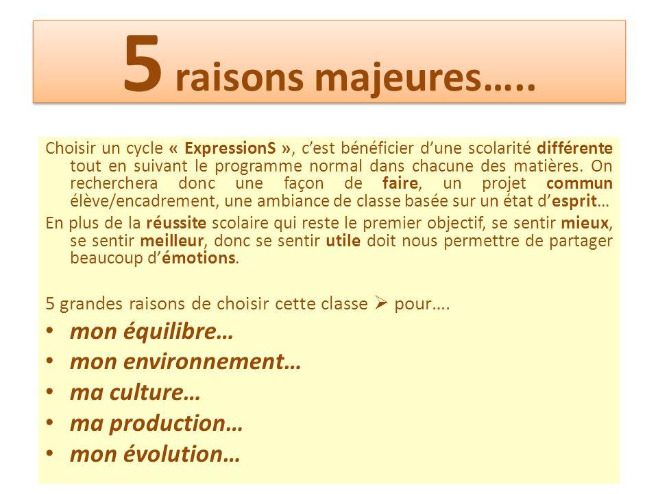 5 raisons majeures….. mon équilibre… mon environnement… ma culture…