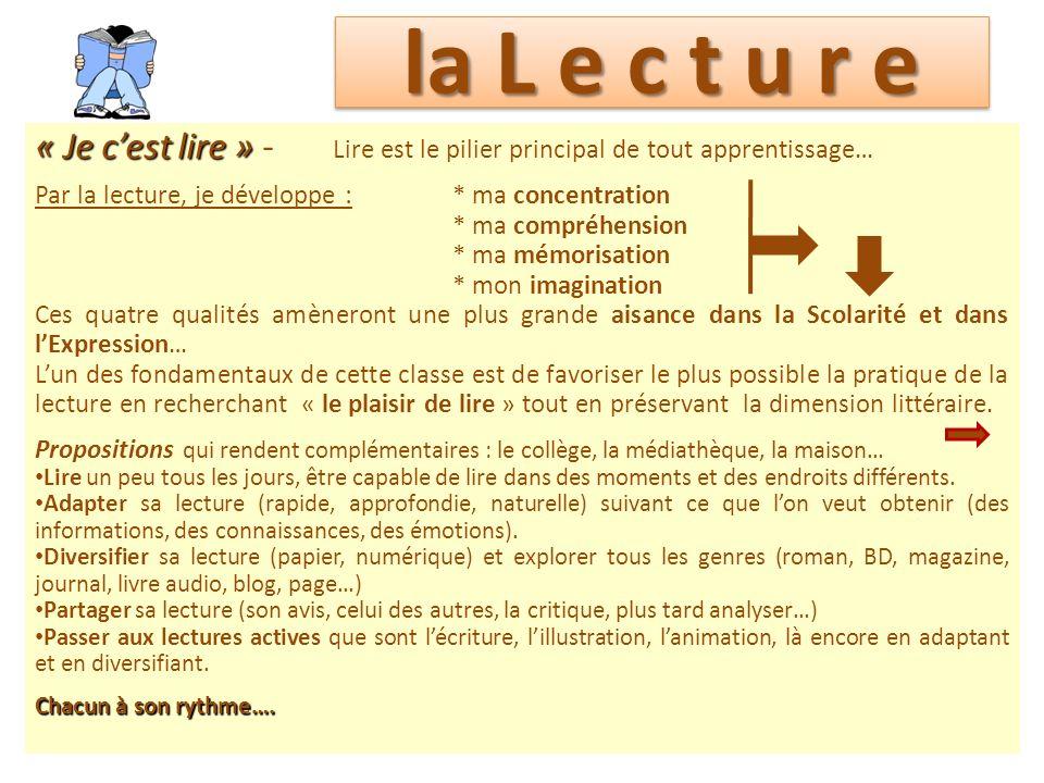 la L e c t u r e « Je c'est lire » - Lire est le pilier principal de tout apprentissage… Par la lecture, je développe : * ma concentration.