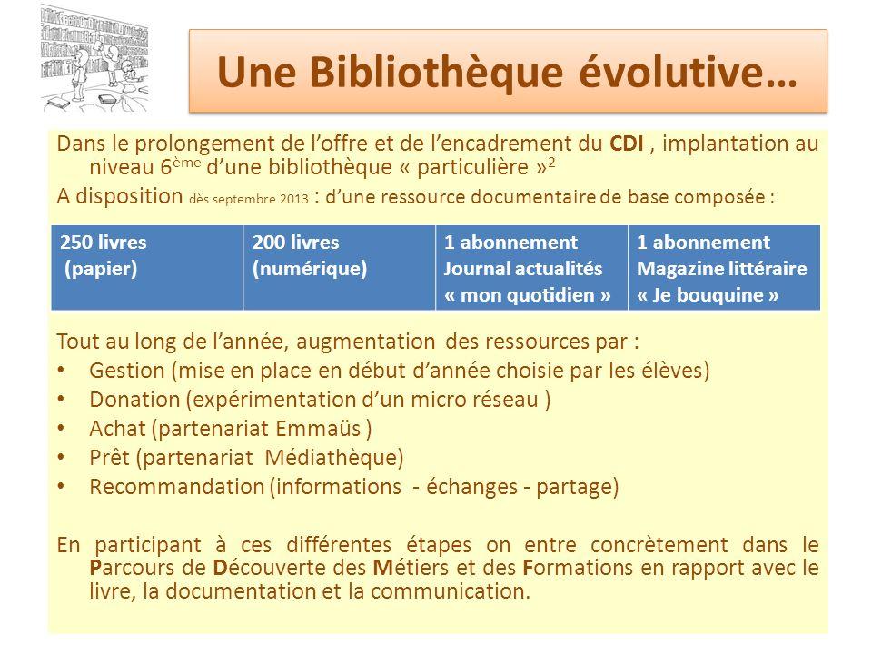 Une Bibliothèque évolutive…