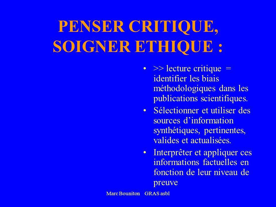 PENSER CRITIQUE, SOIGNER ETHIQUE :