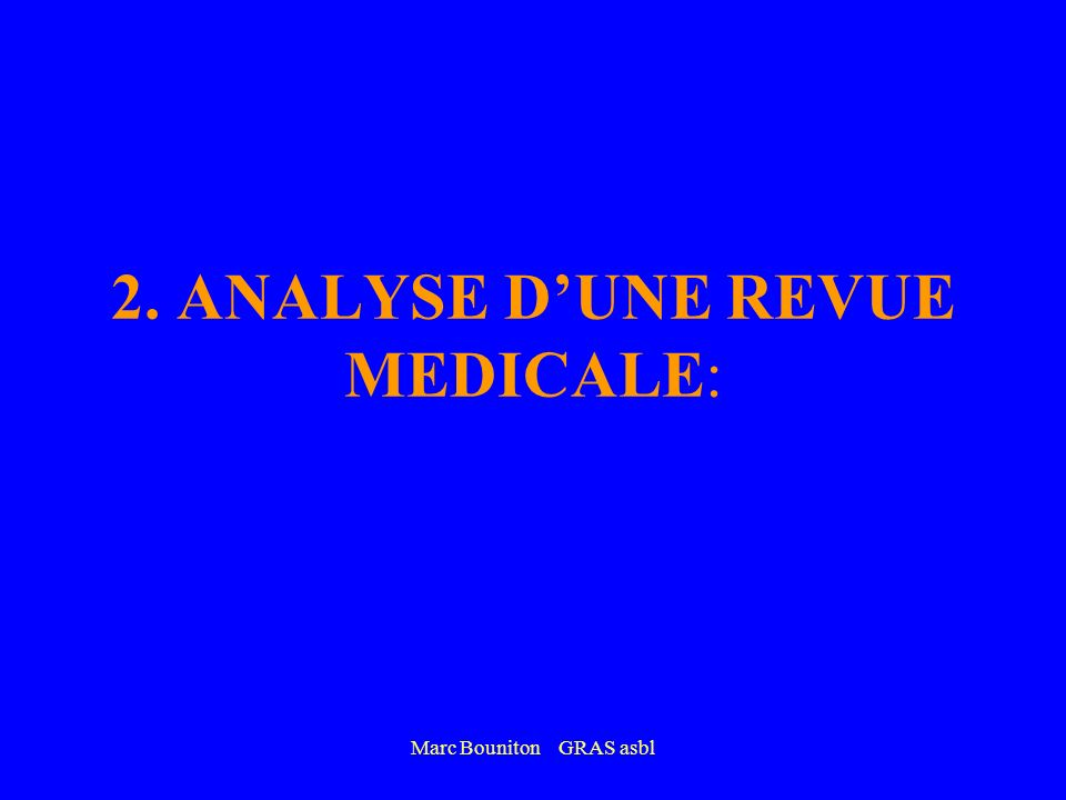2. ANALYSE D'UNE REVUE MEDICALE: