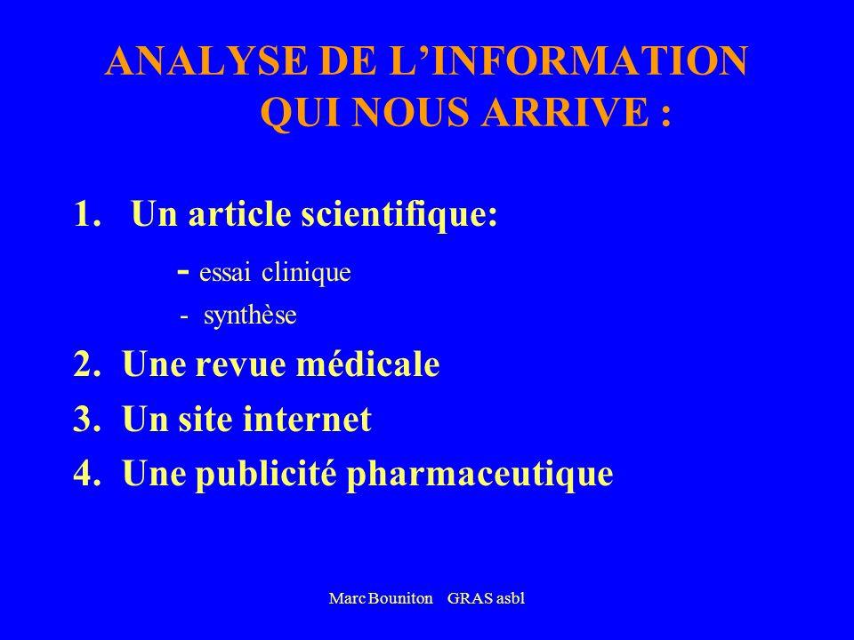 ANALYSE DE L'INFORMATION QUI NOUS ARRIVE :