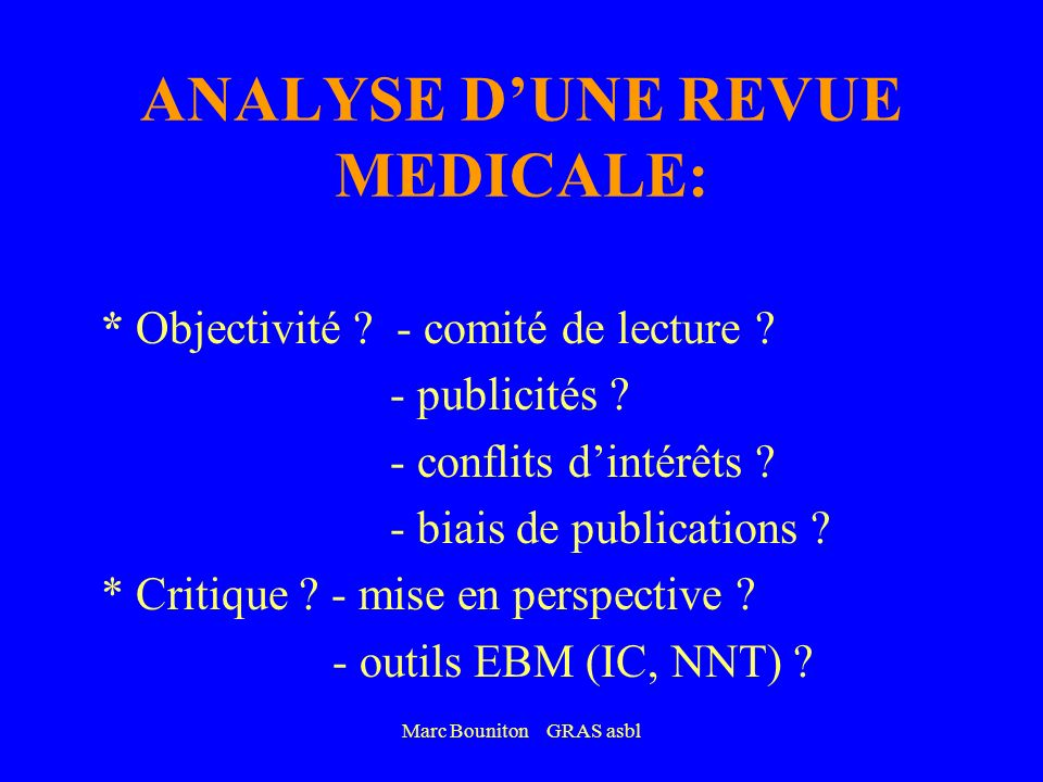 ANALYSE D'UNE REVUE MEDICALE: