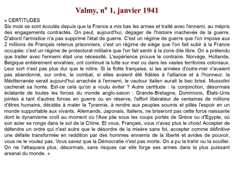 Valmy, n° 1, janvier 1941 « CERTITUDES