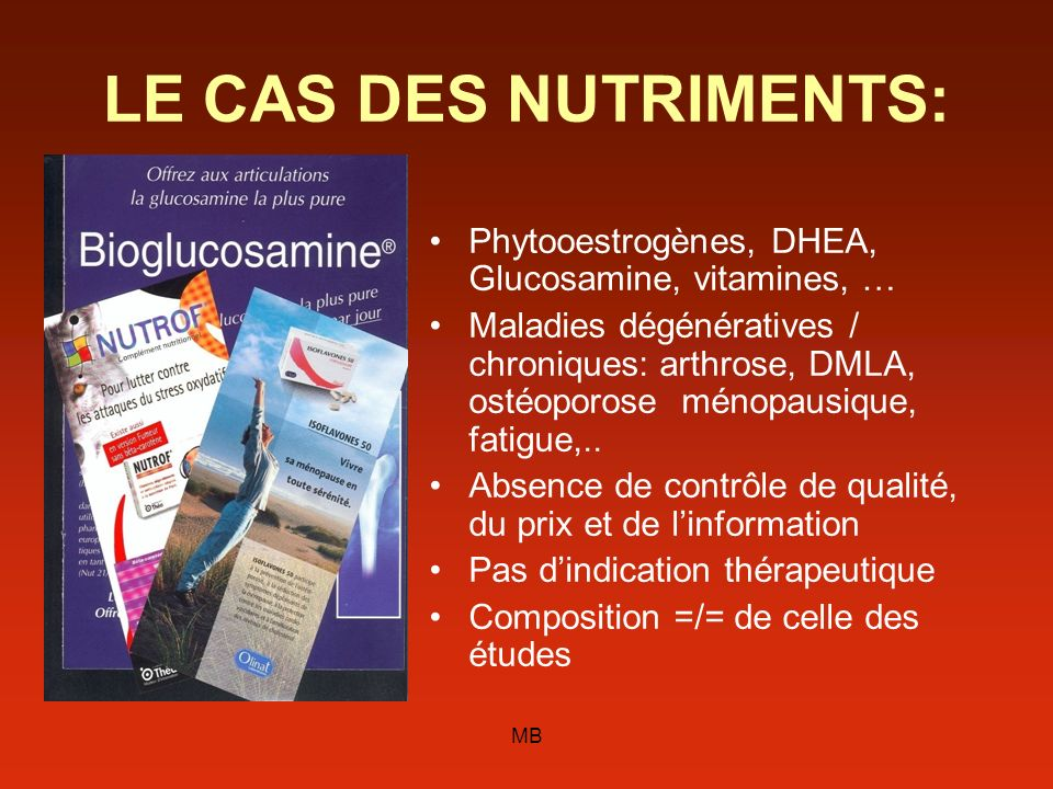 LE CAS DES NUTRIMENTS:Phytooestrogènes, DHEA, Glucosamine, vitamines, …