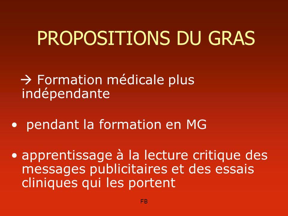 PROPOSITIONS DU GRAS  Formation médicale plus indépendante