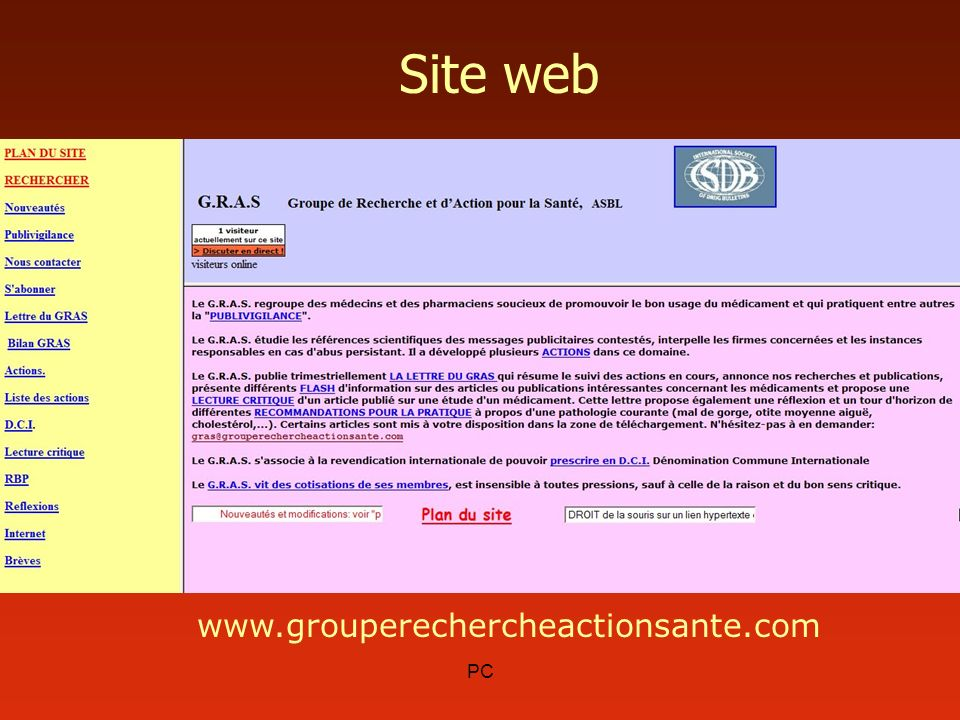 Site web www.grouperechercheactionsante.com PC