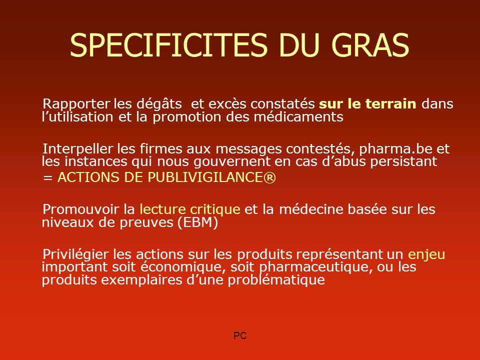 SPECIFICITES DU GRAS Rapporter les dégâts et excès constatés sur le terrain dans l'utilisation et la promotion des médicaments.