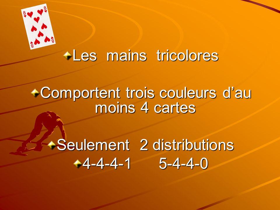 Comportent trois couleurs d'au moins 4 cartes