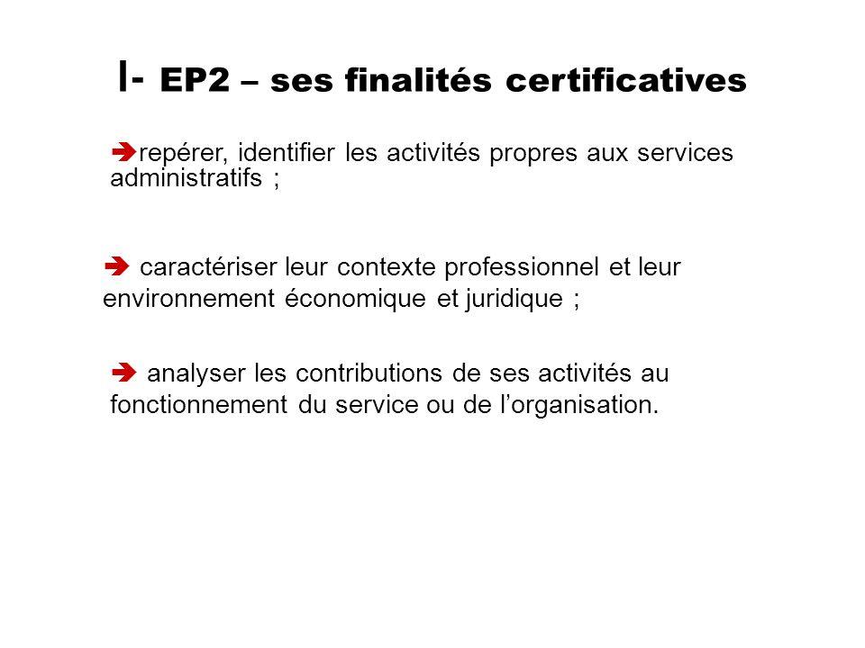 I- EP2 – ses finalités certificatives