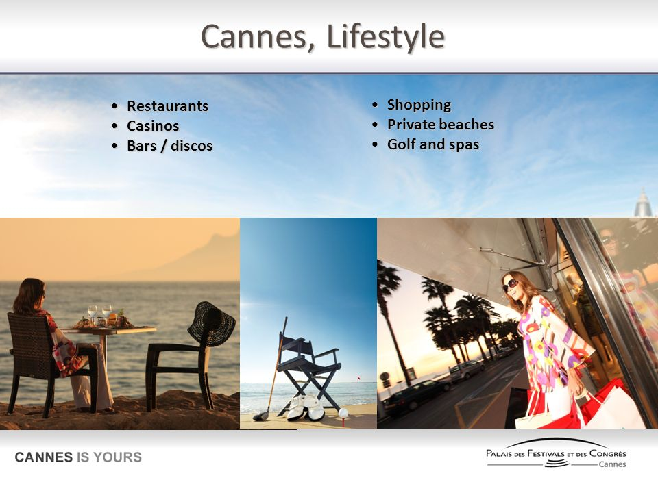 Cannes, Lifestyle Restaurants Shopping Casinos Private beaches