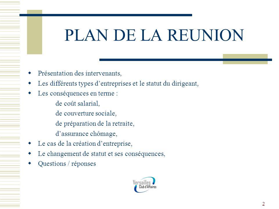 PLAN DE LA REUNION Présentation des intervenants,