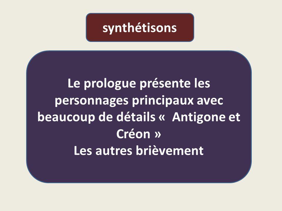 synthétisons Le prologue présente les personnages principaux avec beaucoup de détails « Antigone et Créon »