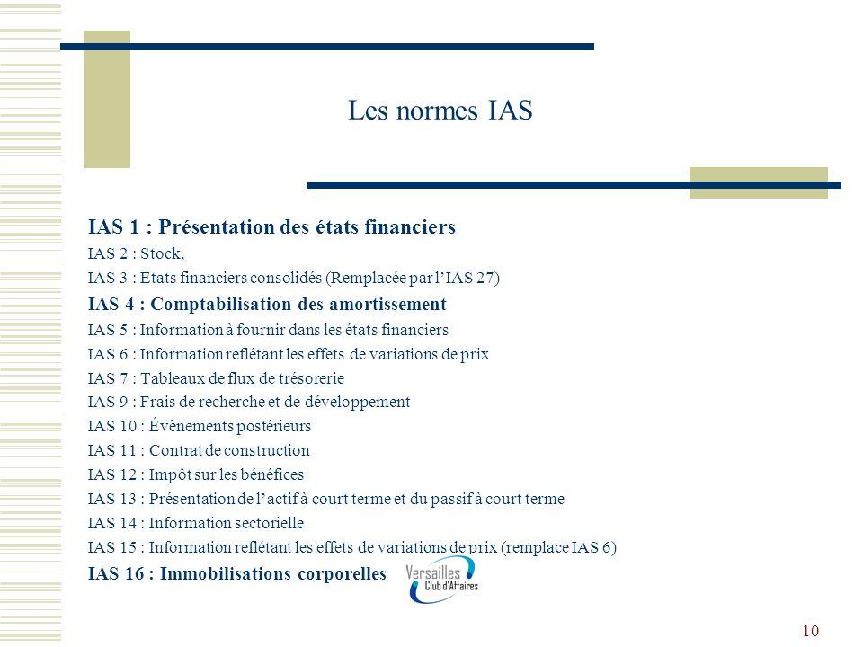 Les normes IAS IAS 1 : Présentation des états financiers