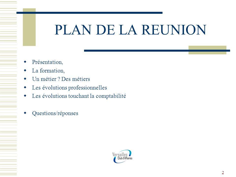 PLAN DE LA REUNION Présentation, La formation, Un métier Des métiers