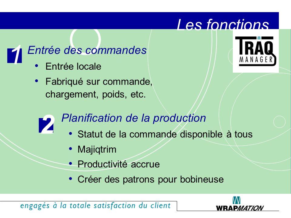 1 2 Les fonctions Entrée des commandes Planification de la production