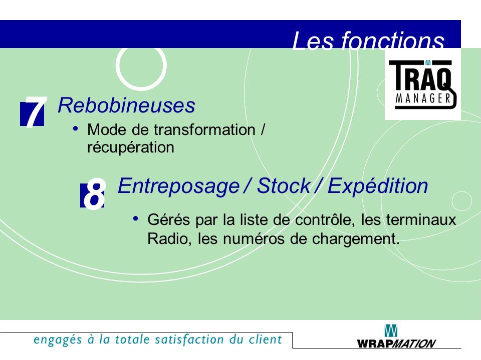 7 8 Les fonctions Rebobineuses Entreposage / Stock / Expédition