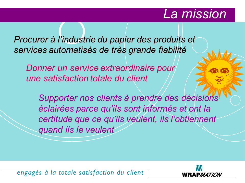 La mission Procurer à l'industrie du papier des produits et services automatisés de très grande fiabilité.