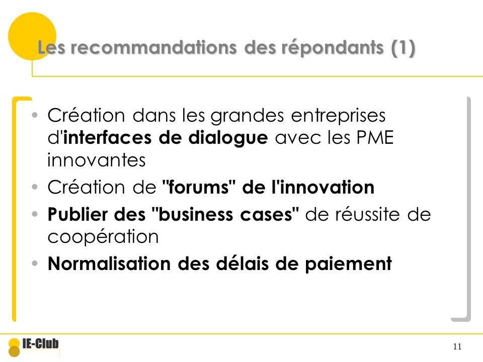 Les recommandations des répondants (1)