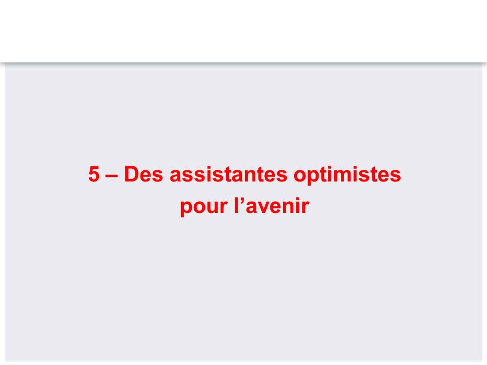 5 – Des assistantes optimistes