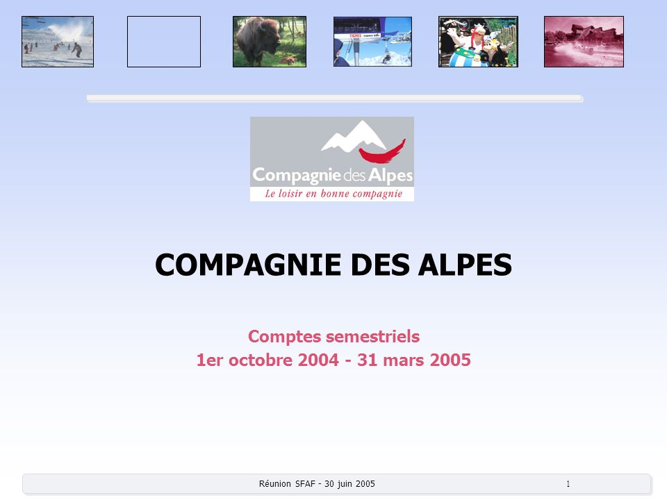 Comptes semestriels 1er octobre 2004 - 31 mars 2005