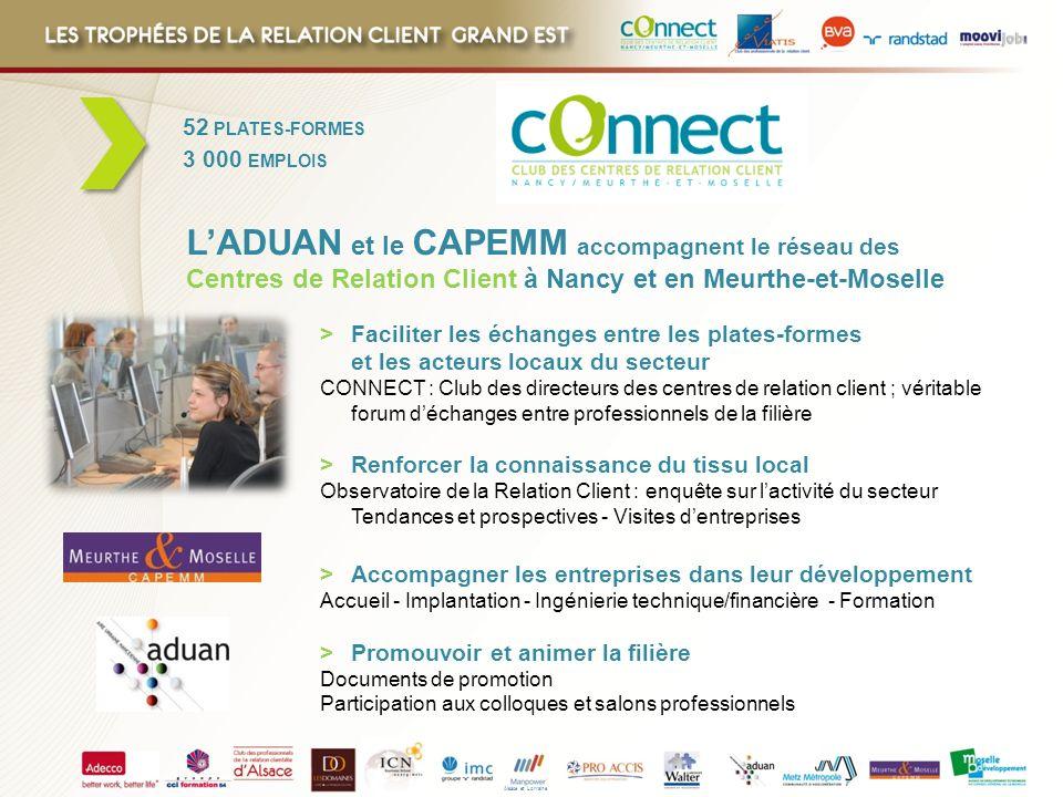 52 PLATES-FORMES 3 000 EMPLOIS. L'ADUAN et le CAPEMM accompagnent le réseau des Centres de Relation Client à Nancy et en Meurthe-et-Moselle.