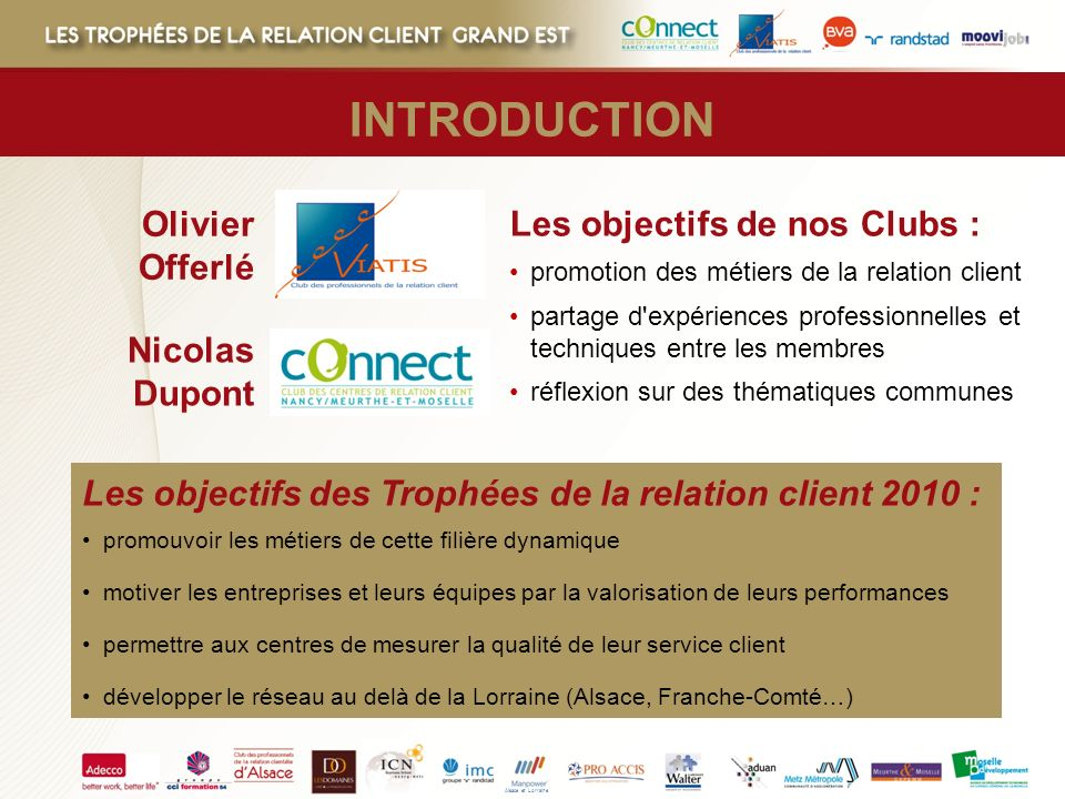 INTRODUCTION Olivier Offerlé Les objectifs de nos Clubs :