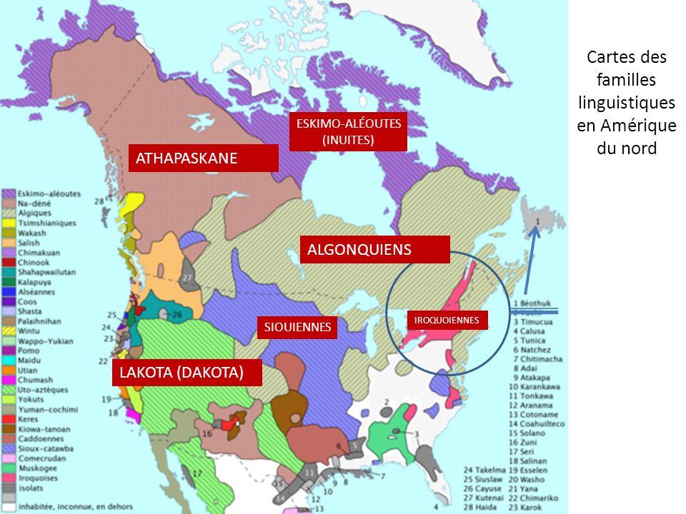 Cartes des familles linguistiques en Amérique du nord