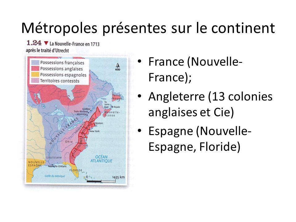 Métropoles présentes sur le continent