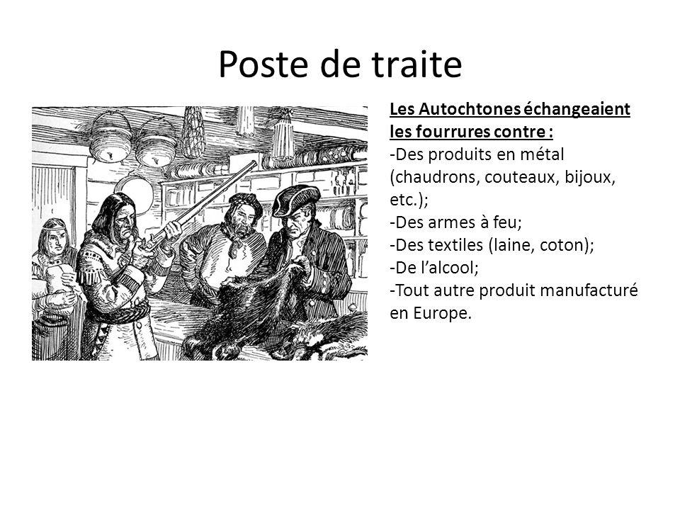 Poste de traite Les Autochtones échangeaient les fourrures contre :