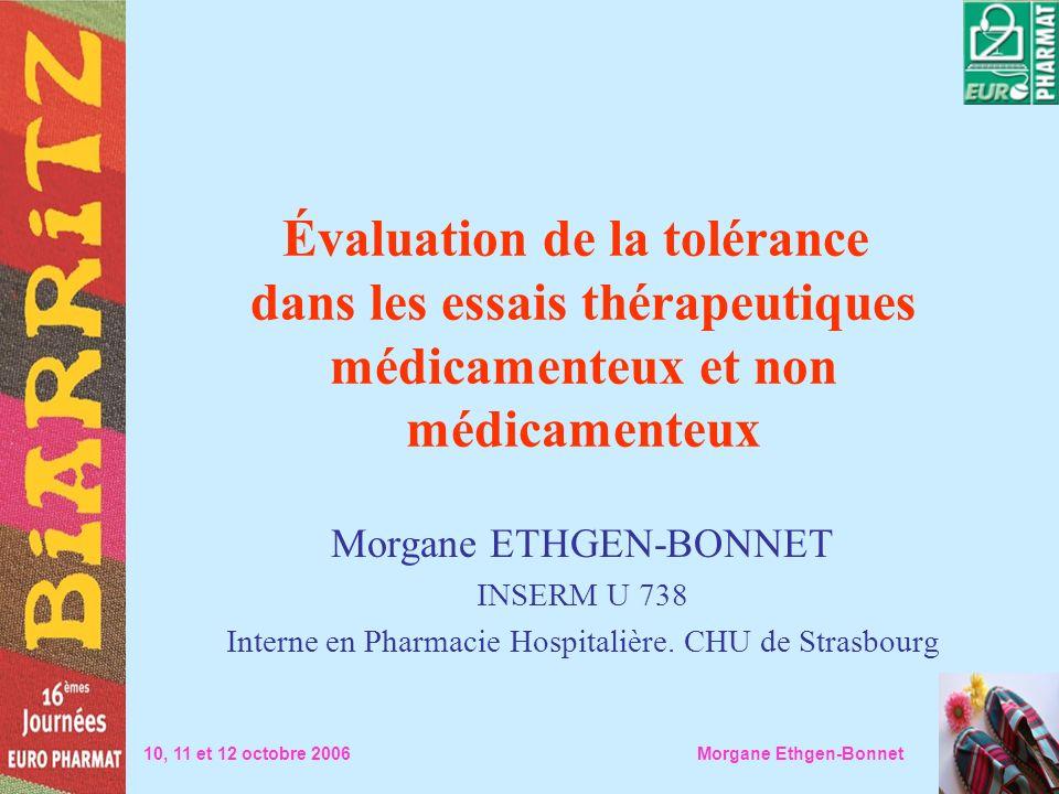 Évaluation de la tolérance dans les essais thérapeutiques médicamenteux et non médicamenteux
