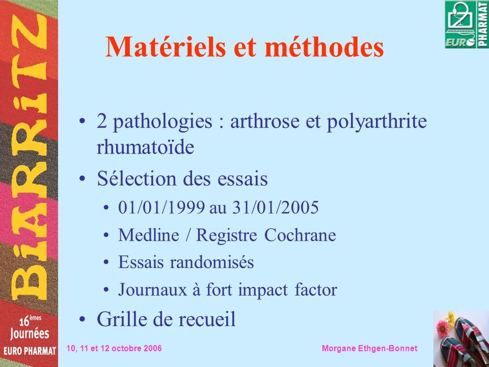 Matériels et méthodes2 pathologies : arthrose et polyarthrite rhumatoïde. Sélection des essais. 01/01/1999 au 31/01/2005.