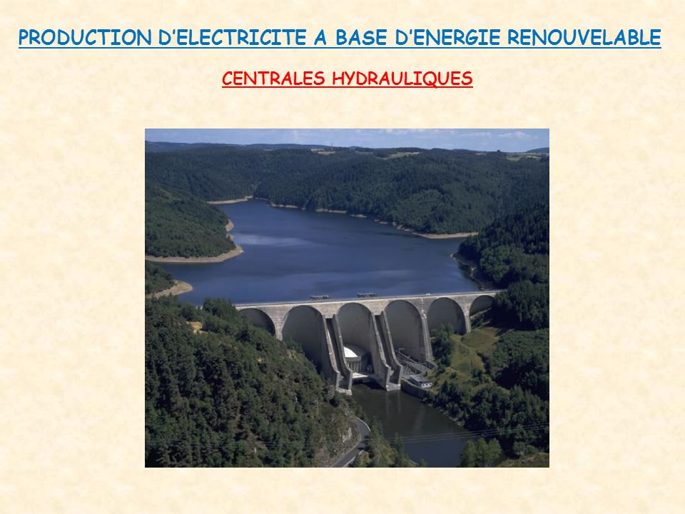 PRODUCTION D'ELECTRICITE A BASE D'ENERGIE RENOUVELABLE