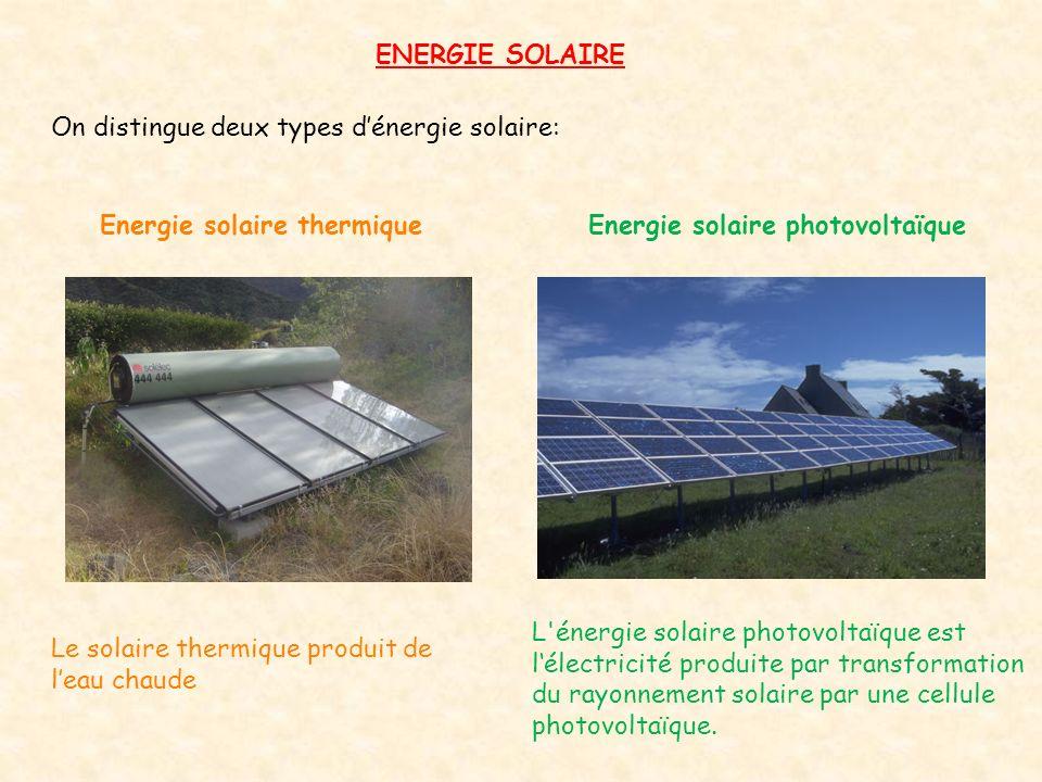 ENERGIE SOLAIRE On distingue deux types d'énergie solaire: Energie solaire thermique. Energie solaire photovoltaïque.